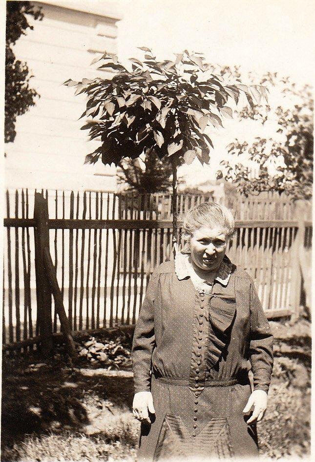 Cecilie Aschkenes na zahradě na Ječmínkově náměstí 5, v pozadí domy na Polské ul.